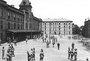 Virginia Tech Corps of Cadets - Outside Barracks No. 1 (now called Lane Hall) circa 1905-06