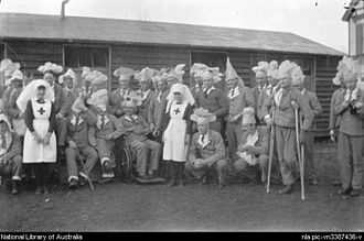 Brockenhurst - Medical staff and patients at WW1 New Zealand First General Hospital, Brockenhurst, between 1917–19