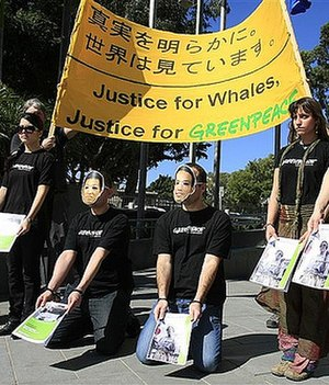 Anti-whaling - Protest against whaling in Tokyo by Greenpeace activists