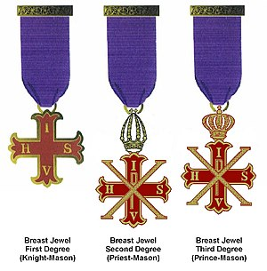 Red Cross of Constantine - The breast jewels (medals) worn by members of the English jurisdiction of the Order.