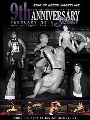 ROH 9th Anniversary Show - Promotional poster featuring (clockwise) Homicide, Roderick Strong, Wrestling's Greatest Tag Team and Briscoe Brothers