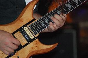 Billy Riker - A close-up of Riker's custom 10 string BC Rich.