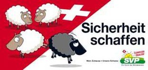 "Human capital flight - 2007 Election campaign poster by the Swiss People's Party, who successfully won votes by appealing to public anger at immigrant criminality. The black sheep is being kicked off the Swiss flag. The caption is a pun on the German words for ""sheep"" and ""to cause"": ""Schaf"" and ""schaffen,"" respectively. It reads, ""Bringing safety."""