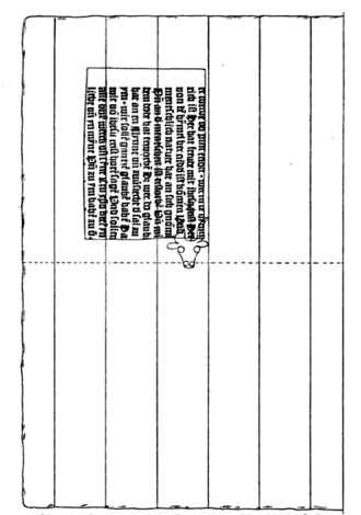 Sibyllenbuch fragment - Diagram by Edward Schröder showing likely placement of fragment on one half of a full sheet of paper, based on the position of partial watermark