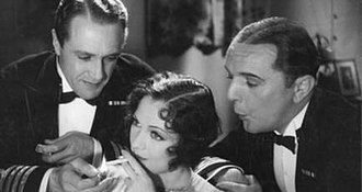 The Middle Watch (1930 film) - Owen Nares, Jacqueline Logan and Jack Raine in a scene from the film.