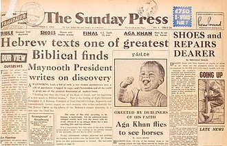 The Sunday Press - Front page of first issue