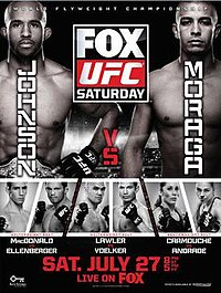 A poster or logo for UFC on Fox: Johnson vs. Moraga.