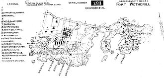Fort Wetherill - A 1921 map of Fort Wetherill.