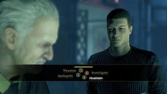 Alpha Protocol - At the heart of Alpha Protocol is the dialogue system. This screen shows a typical dialogue sequence players use to decide their progress.
