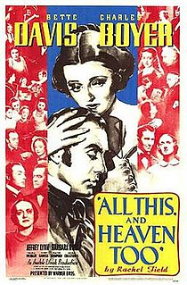 <i>All This, and Heaven Too</i> 1940 film by Anatole Litvak