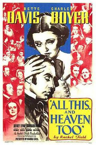 All This, and Heaven Too - Theatrical release poster