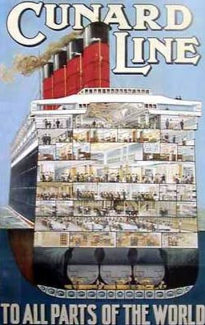 Emigration - Poster showing a cross-section of the Cunard Line's emigrant liner RMS ''Aquitania'', launched in 1913.