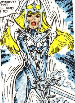 Magik (Illyana Rasputin) - Illyana, willing most of her armor to appear. Art by Bret Blevins.