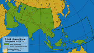 "Immigration Act of 1917 - To contain the so called ""Yellow Peril,"" the Immigration Act of 1917 established the Asiatic Barred Zone, from which the U.S. admitted no immigrants."