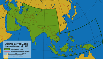 The Asiatic Barred Zone as defined by the Immi...