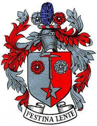 Audenshaw - The coat of arms of the former Audenshaw Urban District Council, which was granted by the College of Arms in 1950. The arms are emblematic of Audenshaw's history and geography, incorporating in its design references to industry.