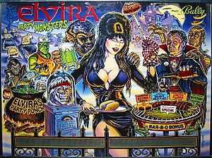 Elvira and the Party Monsters - Image: Backglass of Elvira and the Party Monsters pinball