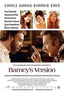 <i>Barneys Version</i> (film) 2010 Canadian film by Richard J. Lewis