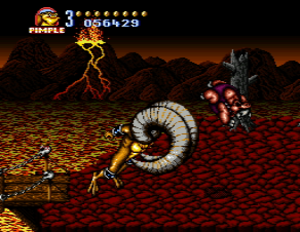 "Battletoads in Battlemaniacs - Pimple uses the ""Battletoad Butt"" special move to defeat an enemy. As in previous games, the artistic style of Battletoads in Battlemaniacs is decidedly cartoony, as shown here by the massive, exaggerated ram horns."
