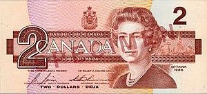 Birds of Canada (banknotes) - Image: Birds of Canada $2 banknote, obverse