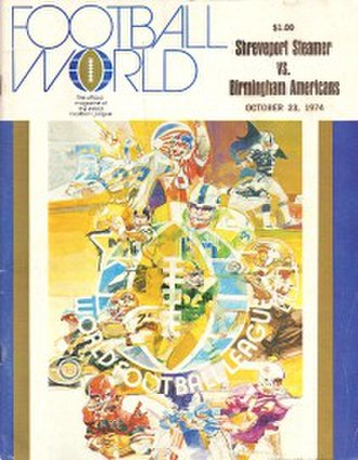 Birmingham Americans - Cover of the program book for the October 23, 1974, game between the Americans and the Shreveport Steamer, incorrectly suggesting that Birmingham was the home team.