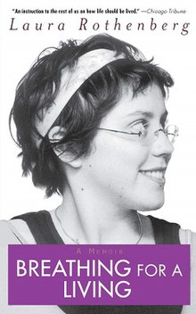 Alt=Book cover of Breathing for a Living with title overlaid on photobooth-style strips of pictures of the young woman author