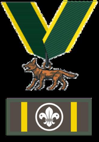 "Bronze Wolf Award - Award with ribbon and ""knot"" badge"