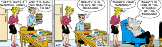 Blondie (comic strip) - Dagwood has created a typical Dagwood sandwich in this April 17, 2007 strip.