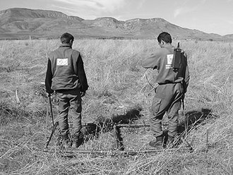 Land mine situation in Nagorno-Karabakh -  HALO deminers clearing anti-tank mines