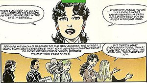 Diana Prince - Diana reveals to reporters that she uses the civilian identity of Diana Prince while working at a museum. Art by John Byrne.