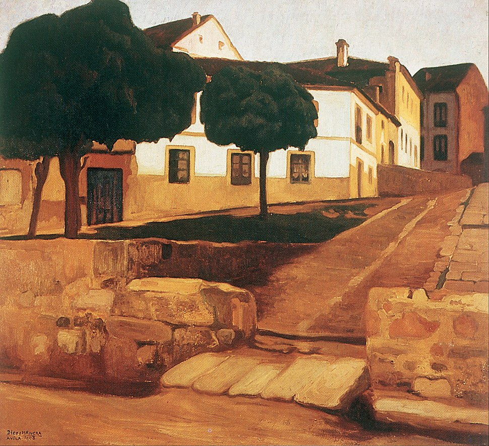Diego Rivera - Street in %C3%81vila (%C3%81vila Landscape) - Google Art Project