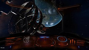 Elite: Dangerous - An Orbis station near a habitable Earth-like planet. Players can dock at stations to trade, obtain ship upgrades or acquire missions.