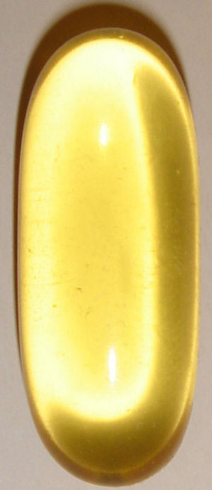A typical fish oil softgel; not to scale