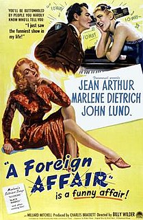 <i>A Foreign Affair</i> 1948 American romantic comedy film directed by Billy Wilder