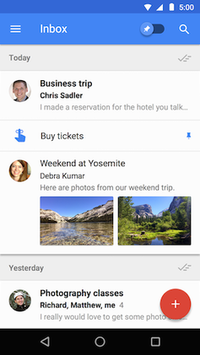 Inbox by Gmail running on Android Lollipop.