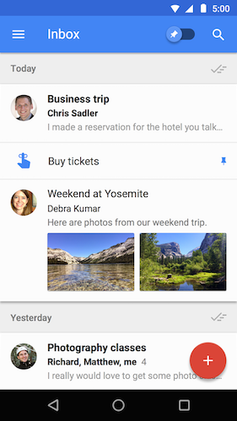 Inbox by Gmail running on Android Lollipop and above