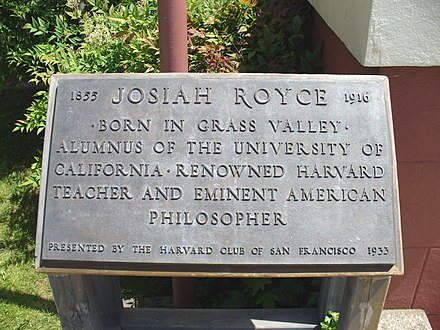 The inscription at the entrance to the library GrassValleyCARoyceLibrarySign.JPG