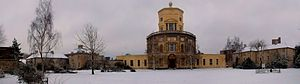 Radcliffe Observatory - Panoramic view of the observatory in the snow