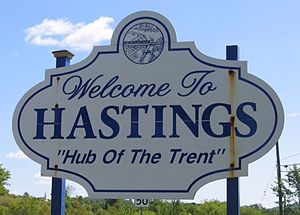 Hastings, Ontario - One of the Hastings welcome signs.