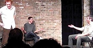 Improvisational theatre - Three improvisers performing longform improv comedy at the Gorilla Tango Theatre in Chicago.