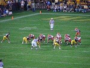 Iowa Hawkeyes - Iowa's defense lines up against Syracuse on September 8, 2007.