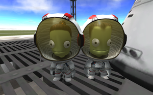 Kerbal Space Program - In-game Kerbals, Valentina (female) and Jebediah Kerman (male), on the launchpad