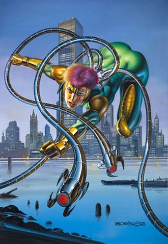 Lady Octopus - Marvel Masterpieces (1996) lithograph of Lady Octopus. Art by Boris Vallejo.