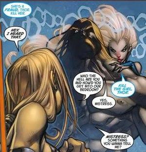 Lorelei (Mutate) - Lorelei controlling Thor, telling him to kill Valkyrie in Ultimates 3.  Art by Joe Madureira