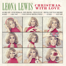 Album cover with a neutral background, with nine alternate images of a female (Lewis) making various faces; her name written in green text, with the album title written in red. Also features the track list of the album.