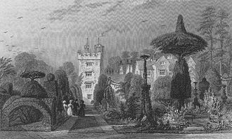 Levens Hall - Levens Hall and the topiary in 1833 when the estate was the seat of the Hon. Colonel Fulke-Greville Howard