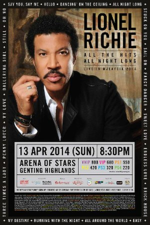 All the Hits, All Night Long - Image: Lionel Richie 2014Tour Poster