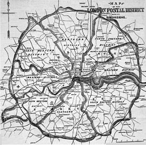 London postal district - Map of the original London postal district in 1857