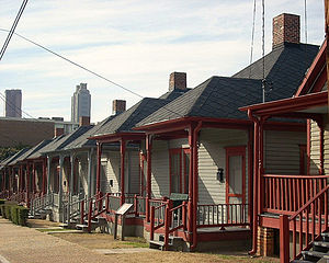 Boulevard (Atlanta) - Shotgun houses on Auburn Avenue at Boulevard, part of the Martin Luther King, Jr., National Historic Site