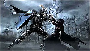 Neverwinter Nights 2 - The game's opening cinematic, portraying the main antagonist, the King of Shadows (left), in battle with the warlock Ammon Jerro.
